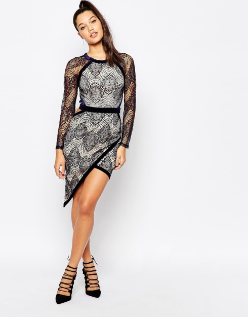 Misguided Lace Asymmetric Dress