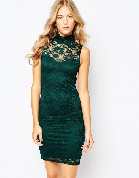 Vero Moda High Neck Lace Bodycon Dress $72.00
