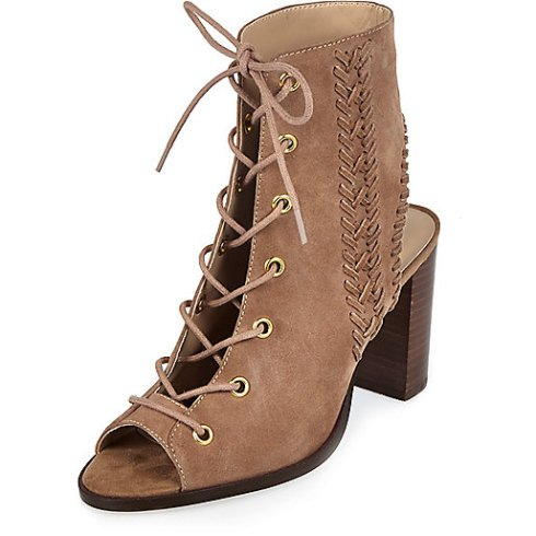 River Island Dusky pink suede lace-up heeled shoe boots