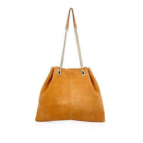 River Island Tan suede slouchy chain handbag